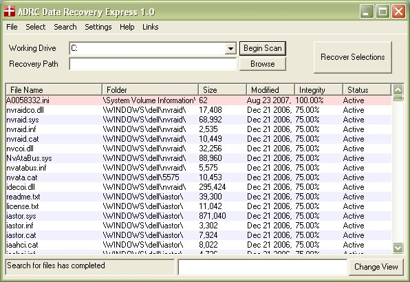 ADRC Data Recovery Express Screenshot