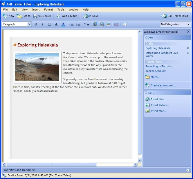 Microsoft Windows Live Writer 2008 Screenshot