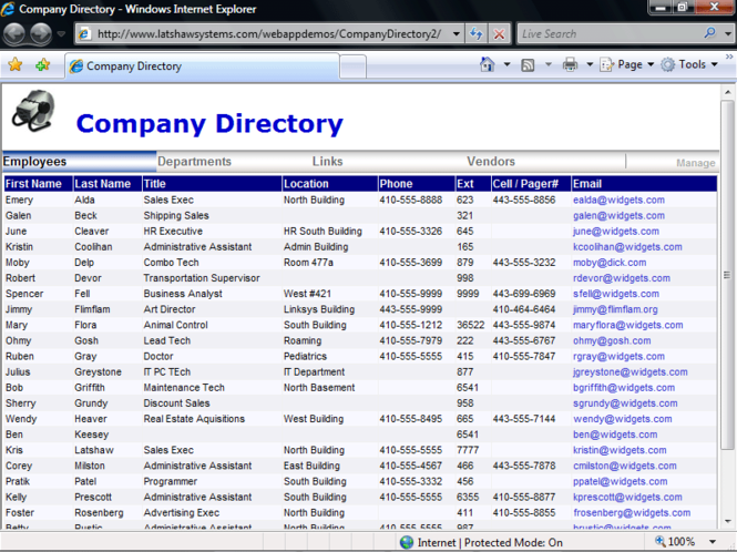 Company Directory Screenshot 1