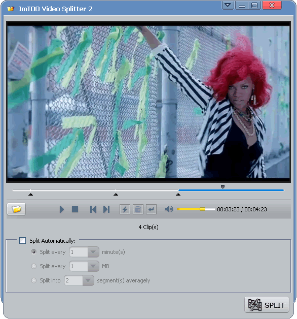 ImTOO Video Splitter Screenshot