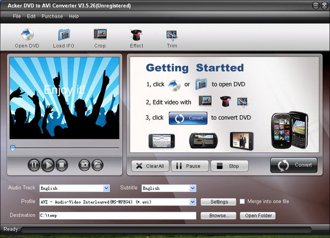 Acker DVD to AVI Converter Screenshot 1