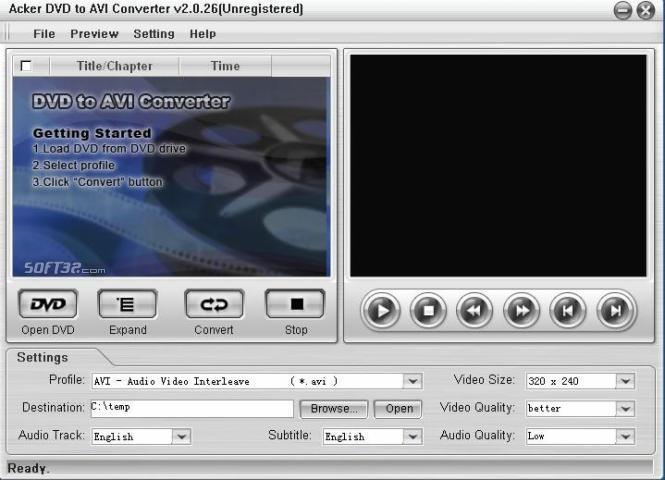 Acker DVD to AVI Converter Screenshot 3