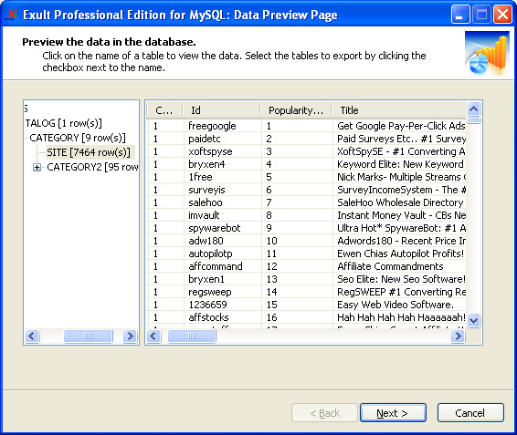 Exult Professional Edition for MySQL Screenshot