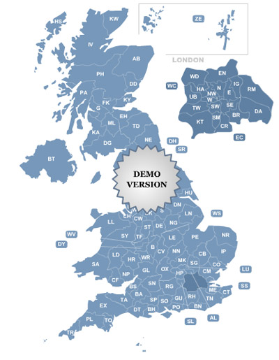 Postcode Map of UK Screenshot