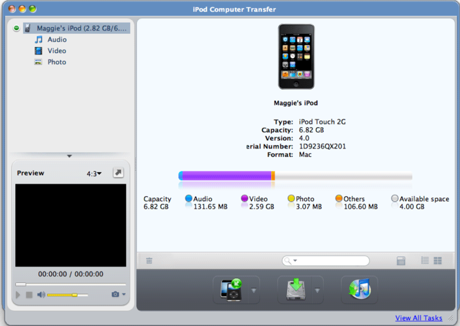 ImTOO iPod Computer Transfer for Mac Screenshot