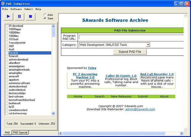 PAD Submitter Screenshot 3