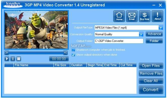 Koobo 3GP MP4 Video Converter Screenshot