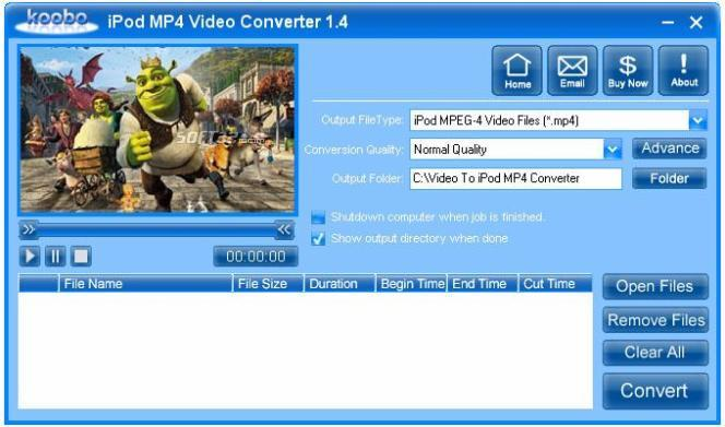 Koobo iPod MP4 Video Converter Screenshot