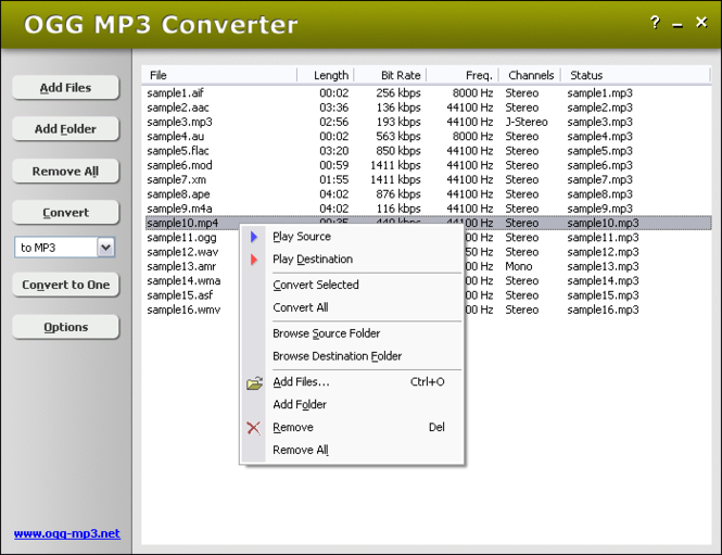 OGG MP3 Converter Screenshot
