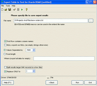 Export Table to Text for Oracle Screenshot 1