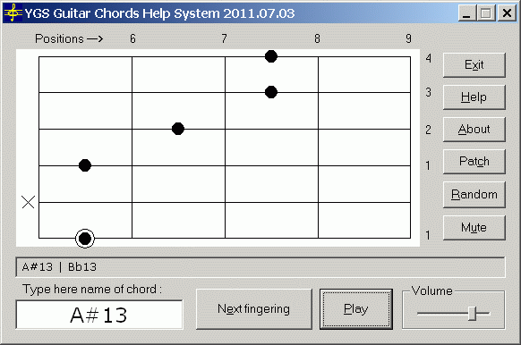 YGS Guitar Chords Help System Screenshot