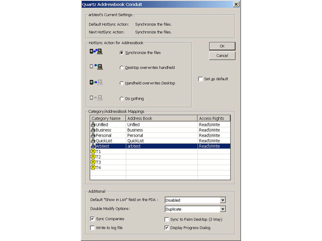 SmartSYNC Palm Conduit Suite Screenshot