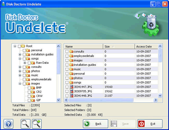Disk Doctors Undelete Screenshot