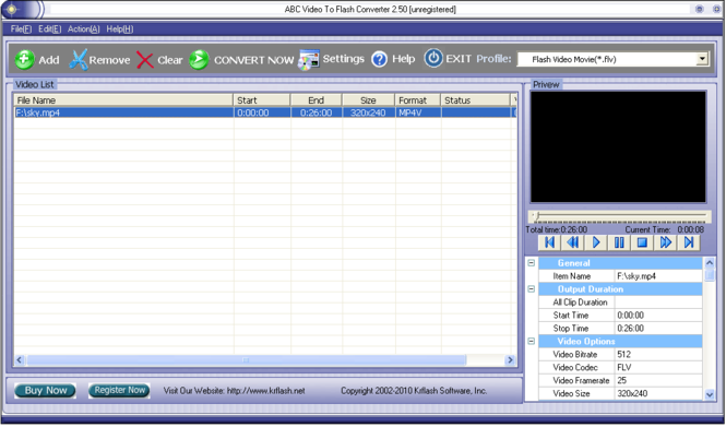 ABC Video to Flash Converter Screenshot