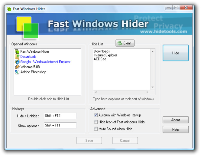 Fast Windows Hider Screenshot 1