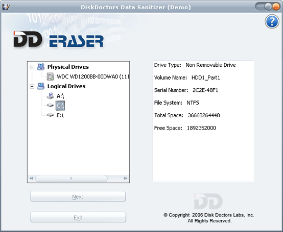 Disk Doctors Data Sanitizer Screenshot