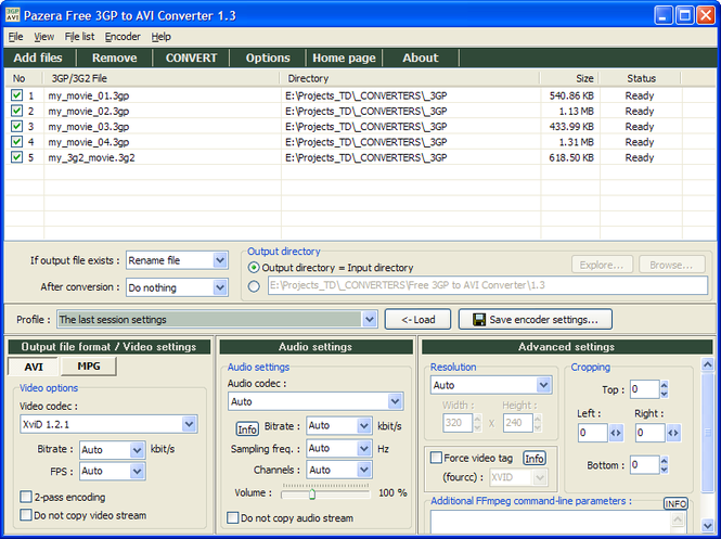 Pazera Free 3GP to AVI Converter Screenshot