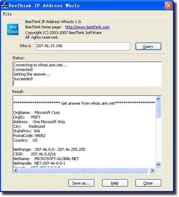 BeeThink IP Address WhoIs Screenshot 1