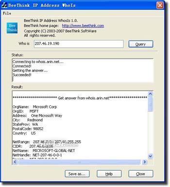 BeeThink IP Address WhoIs Screenshot 2