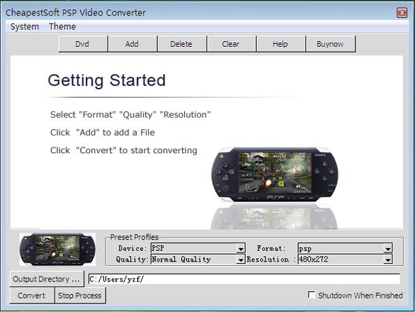 CheapestSoft PSP Video Converter Screenshot