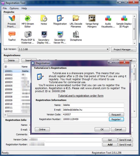 TRegistration Screenshot 1