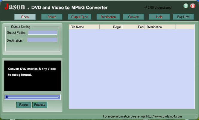 Jason DVD Video to MPEG Converter Screenshot