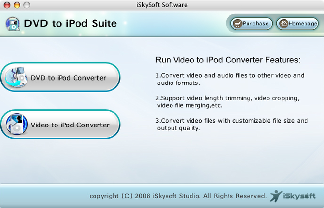 iSkysoft DVD to iPod Suite for Mac Screenshot 1
