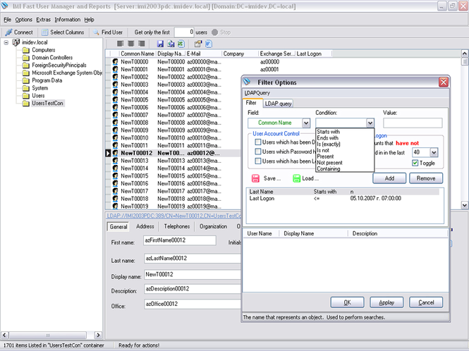 IMI Fast User Manager and Reports Screenshot