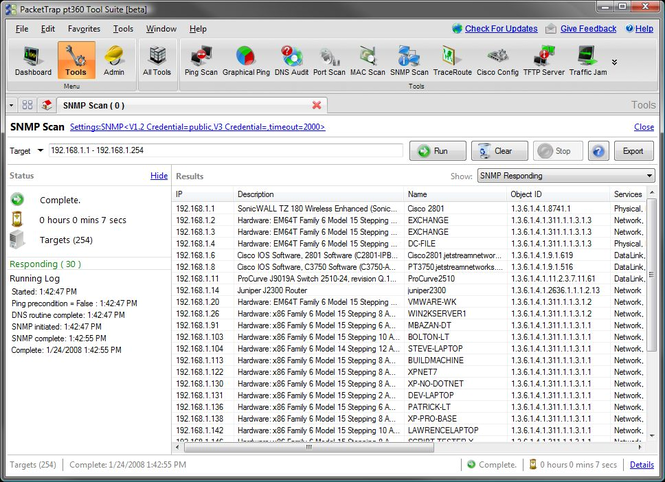 Free PacketTrap SNMP Scan Screenshot