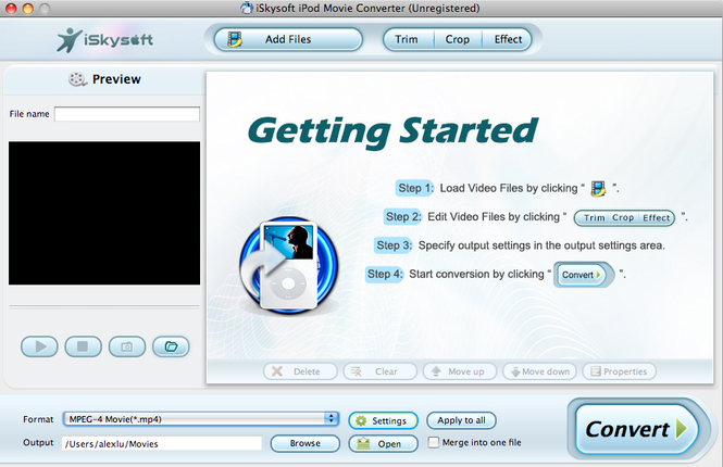 iSkysoft iPod Movie Converter for Mac Screenshot 1