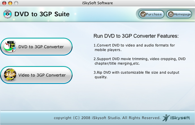 iSkysoft DVD to 3GP Suite for Mac Screenshot