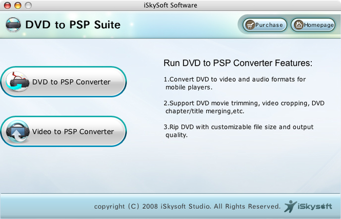 iSkysoft DVD to PSP Suite for Mac Screenshot 1