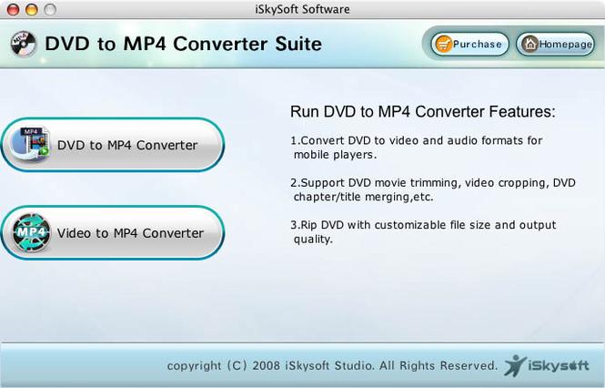 iSkysoft MP4 Converter Suite for Mac Screenshot