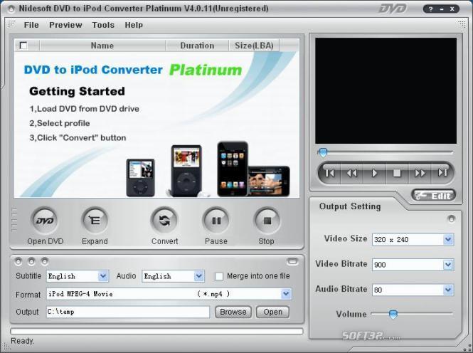 Nidesoft DVD to iPod Converter Platinum Screenshot 2