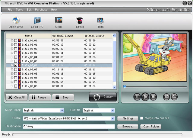 Nidesoft DVD to AVI Converter Platinum Screenshot