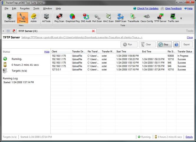 FREE PacketTrap TFTP Server Screenshot 1