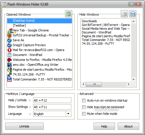 Flash Windows Hider Screenshot 1