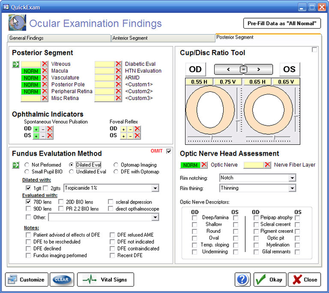 Ophthalmic EMR - ezChartWriter Screenshot