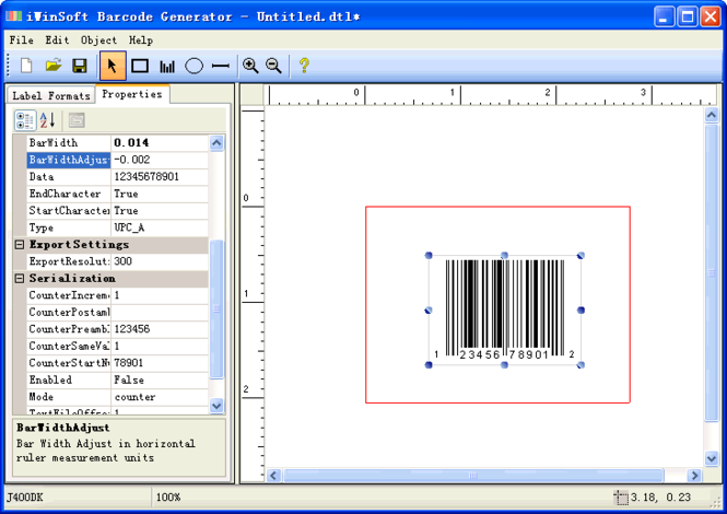 iWinSoft Barcode Generator Screenshot