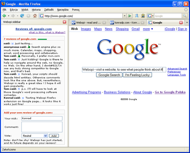 Webopi Firefox extension Screenshot 1