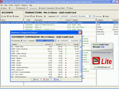 Home Credit Card Manager Lite Screenshot