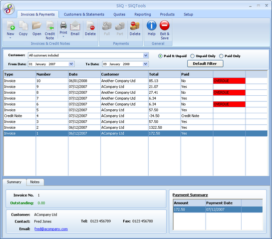 SliQ Invoicing and Quoting Screenshot