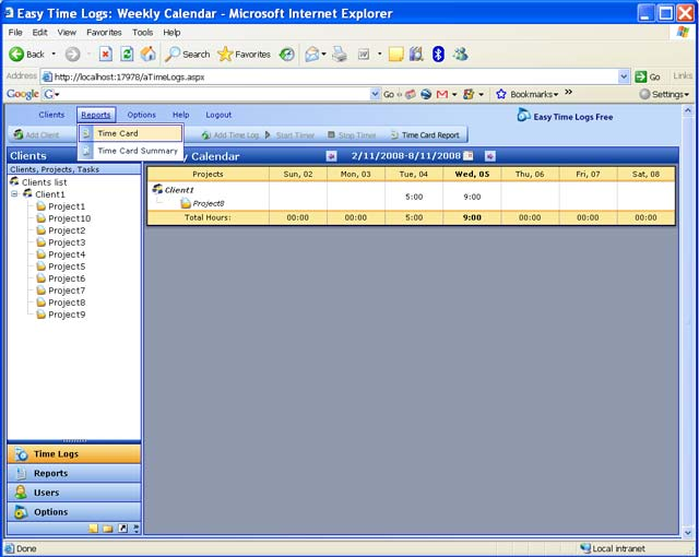Easy Time Logs Free Screenshot