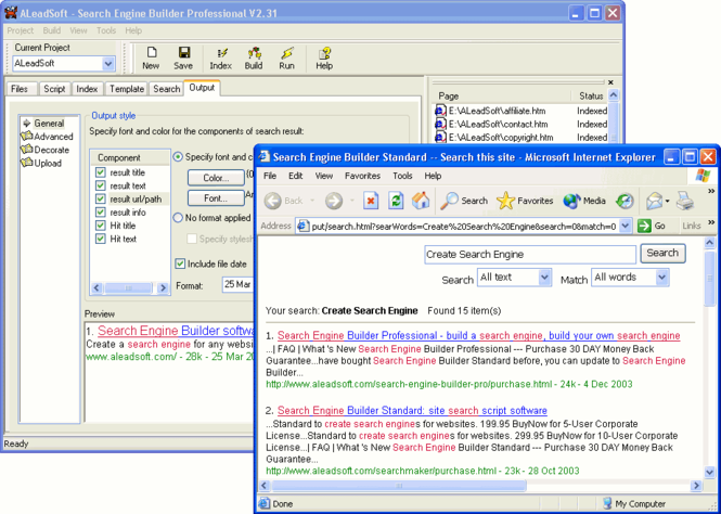 Search Engine Builder Standard Screenshot