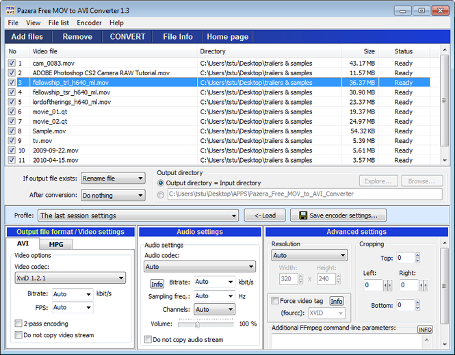 Pazera Free MOV to AVI Converter Screenshot