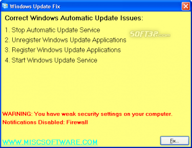 Windows Automatic Update Fix Tool Screenshot