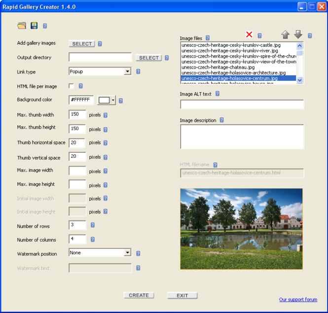 Rapid Gallery Creator Screenshot