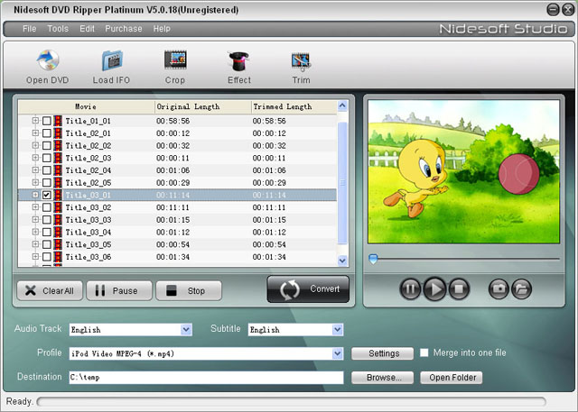 Nidesoft DVD Ripper Platinum Screenshot