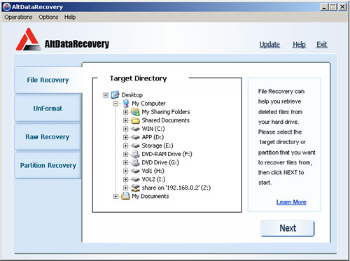 AltDataRecovery Screenshot