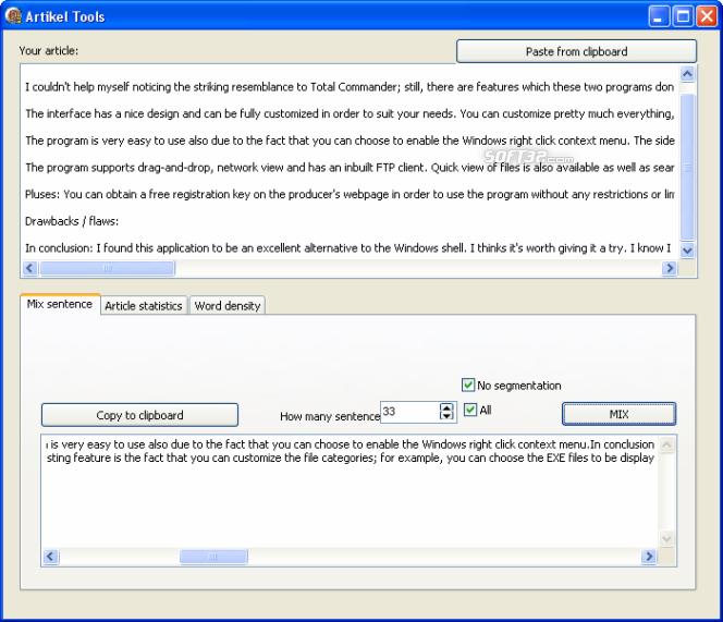 Free SEO Tool for Article and Keywords Screenshot 2
